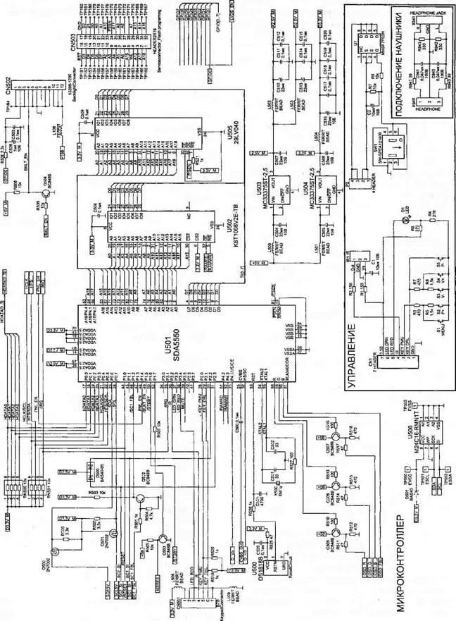 RCUT.  Рис. 2.7.  Принципиальная электрическая схема.  Микроконтроллер.  Усиление G. Усиление В. и. 0...